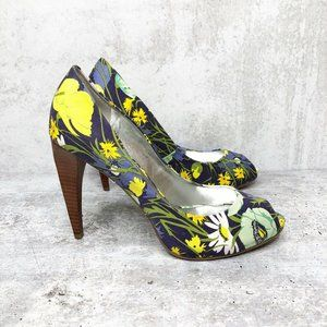 Marc Fisher Shoes - Marc Fisher Endless Blue Floral Peep Toe Heels